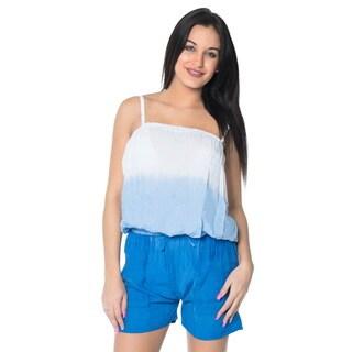 La Leela Plus Jumpsuit Tie Dye Stretchable Romper Rayon Women Playsuit Blue S/M