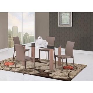 Global Furniture Oak Glass/Wood Grain Paper Dining Table