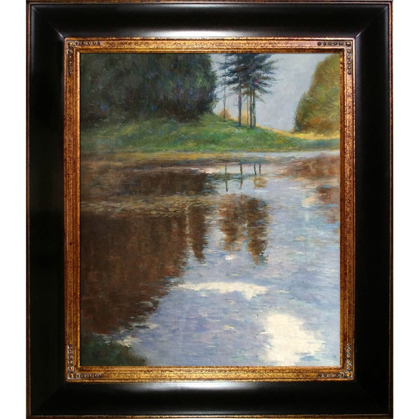 Gustav Klimt 'Quiet Pond in the Park of Appeal' Hand Painted Framed Canvas Art