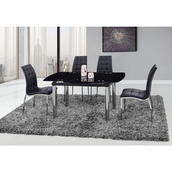 Global Furniture Black Silver Gl Chrome Dining Table Free Shipping Today 11967365