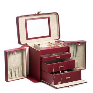 Bey Berk Red/Black Leather 4-level Jewelry Case