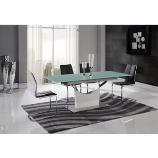 Global Furniture White Frosted Glass and MDF Dining Table