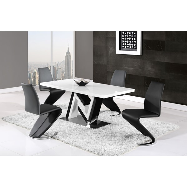 Dining Table Sets Black And White Dining Table 4 Chairs: Shop Global Furniture Contemporary Black And White Dining