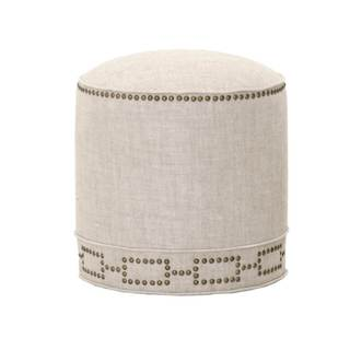 Gray Manor Elizabeth Cream/Gold Linen Round Footstool