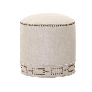 Gray Manor Elizabeth Cream/Gold Linen Round Footstool