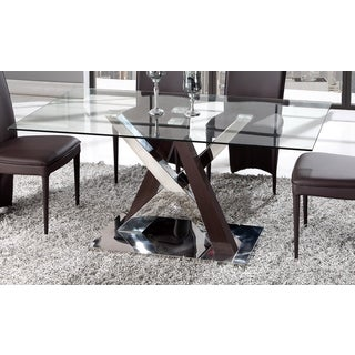 Global Furniture Wenge MDF, Chrome, and Glass Dining Table