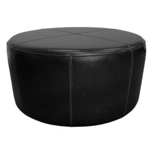 Gray Manor Rafael Black Faux Leather Ottoman