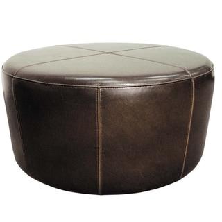 Gray Manor Rafael Mocha Leather Round Ottoman