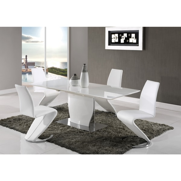 Global Furniture White High Gloss MDF/Metal Dining Table