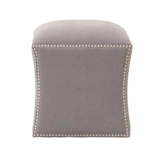 Gray Manor Lee Grey/Silver Linen/Cotton Square Footstool