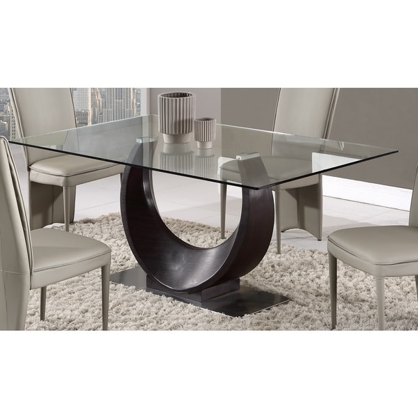 global furniture wenge glass and mdf dining table free shipping today