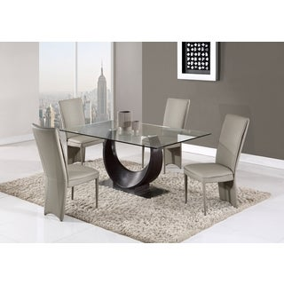 Global Furniture Wenge Glass and MDF Dining Table - N/A