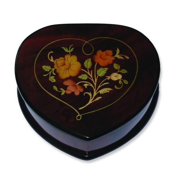 Versil Ercolano Brown Wood Floral Inlay Heart Music Box