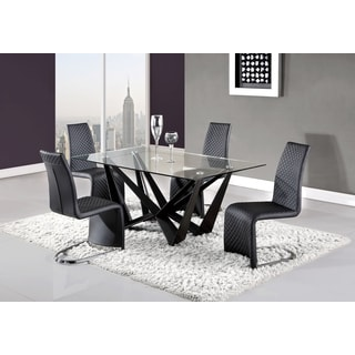 Global Furniture Contemporary Matte Black and Glass Dining Table