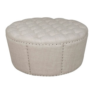 Gray Manor Augusta Cream/Off-white Wood/Linen Ottoman