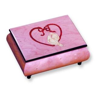 Versil Ercolano Pink Doves and Heart Inlay Music Box