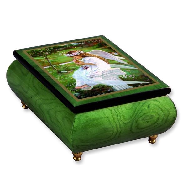 Versil Sandra Kuck 'Kitten Kisses' Green Wood Music Box
