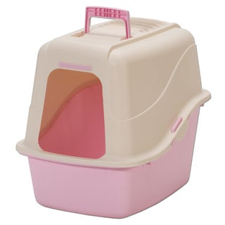 Petmate Plastic Hooded Pan With Microban Litter Box (Option: Off-White/Pink)