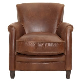 Gray Manor Harold Tan/Brown Wood/Leather Club Chair