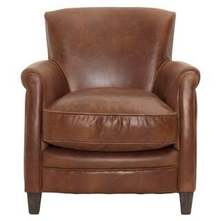Gray Manor Harold Tan/Brown Wood/Leather Club Chair