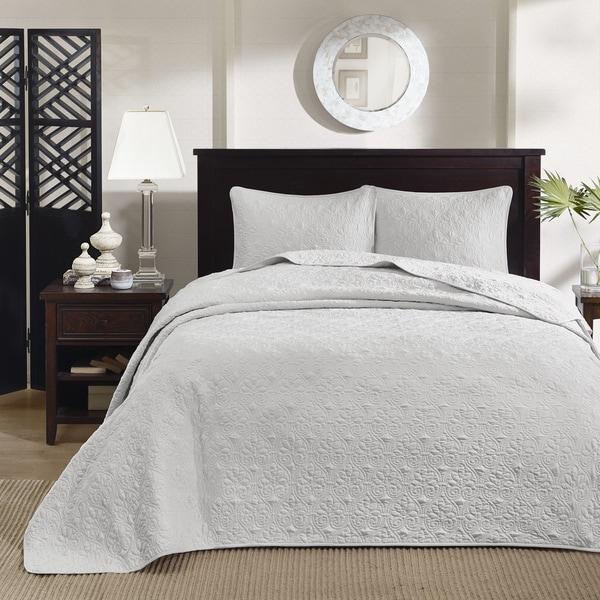 Madison Park Mansfield Grey 3-piece Bedspread Set