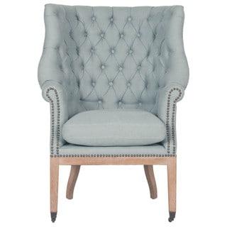 Gray Manor Josie Blue/Natural Wood/Oak/Linen Club Chair