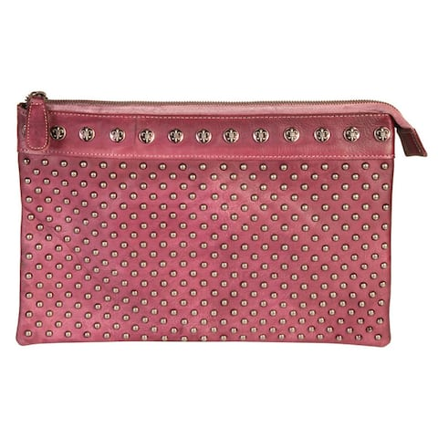 Diophy Genuine Leather Studded Zipper Clutch