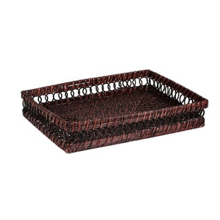 Caribbean Joe Brown Rattan Rectangular Tray
