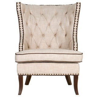 Gray Manor Carissa Cream Linen-tufted Club Chair