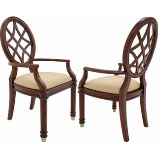 Shermag Oxford Beige Cherry Wood Vintage Transitional Upholstered Seat Armchairs (Set of 2)
