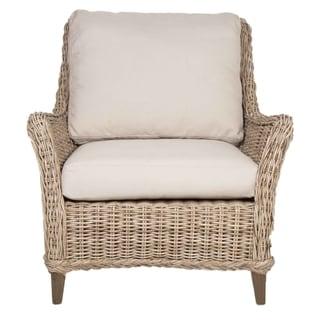 Gray Manor Franklin Grey/Natural Mahogany and Fabric Club Chair