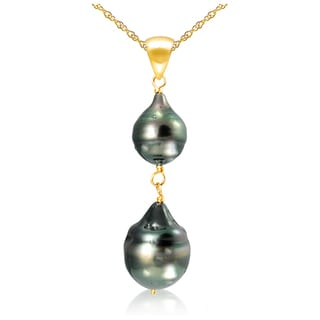 DaVonna 14k Yellow Gold 8-12mm Black Off Shape Tahitian Cultured Pearl Pendant Necklace