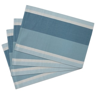 Blue Cotton Ribber Placemat Set (Pack of 4)