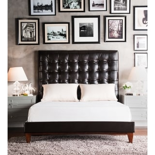 Chic Home Beethoven Black Bonded Leather Button-tufted Bed Frame