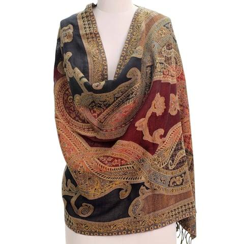 Handmade Wool 'Mughal Exuberance' Jamawar Shawl (India)