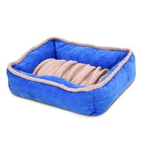Aspen Dig N Burrow Blue Polyester Pet Shearling Dog Bed