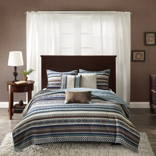 Madison Park Harley Blue Quilted 6-piece Coverlet Set (Option: King)