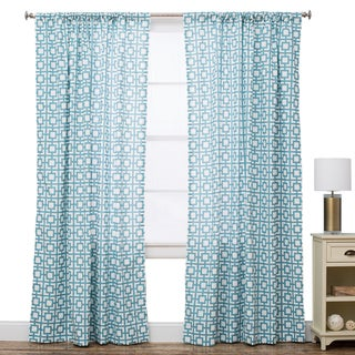 Geo Ocean Blue Cotton Window Panel