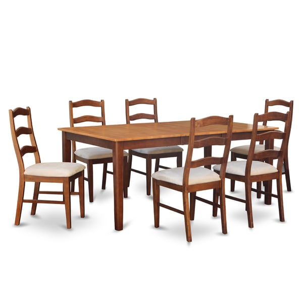 Henl7 brn 7 piece dining table set free shipping today for Kitchen table set 7 piece