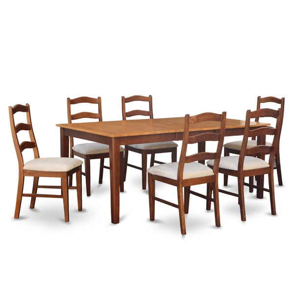 HENL7 BRN 7 Piece Dining Table Set Dining Table With Leaf And 6 Dining