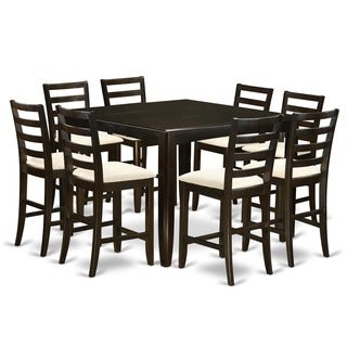 FAIR9-CAP Cappuccino-finish 9-piece Counter-height Square Table & 8 Brown-upholstered Counter Chairs Set