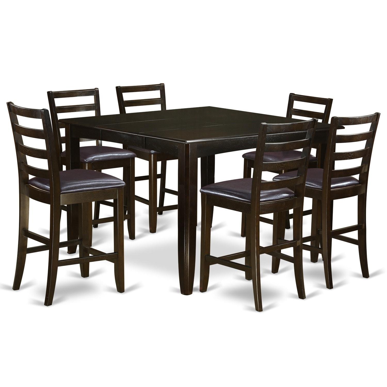 FAIR7 CAP 7 Piece Pub Height Table Set (Faux Leather),