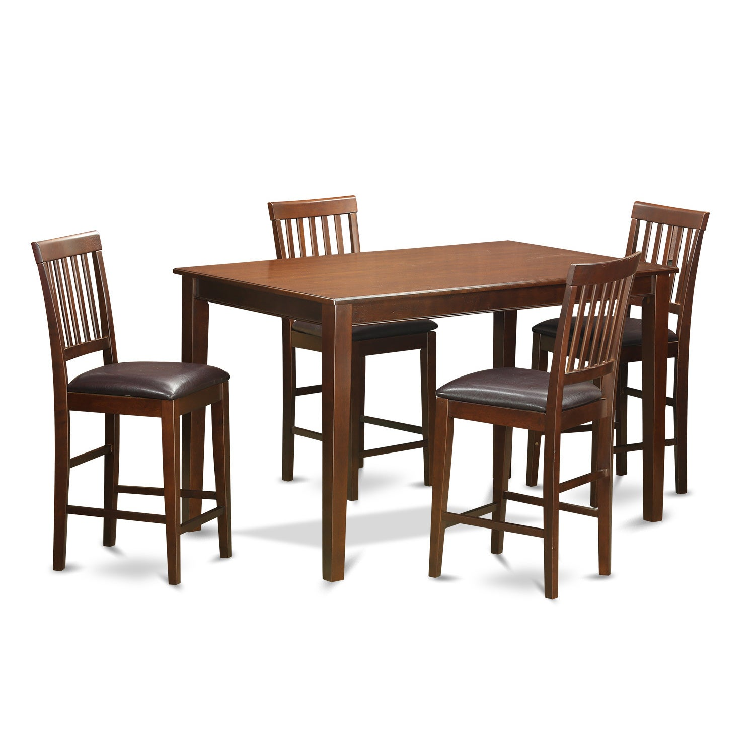 DUVN5H MAH 5 Piece Counter Height Table Set (Faux Leather.