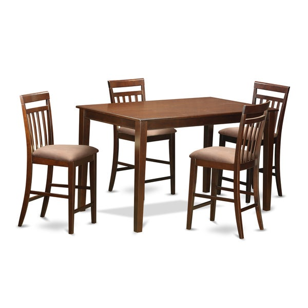 DUEW5H-MAH Natural Rubberwood 5-piece Pub Table and Barstool Set