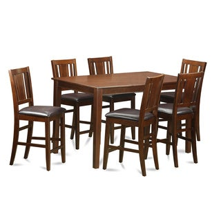 DUBU7H-MAH Rubberwood Counter-height Table with 6 Chairs