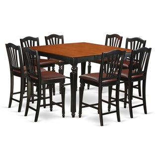 Black Rubberwood Square Pub Table with 8 Counter-height Chairs (9-piece Set)