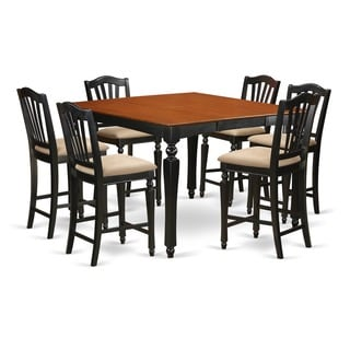 East West Furniture Chelsea Cherry/Black Rubberwood 7-piece Counter Height Table Set