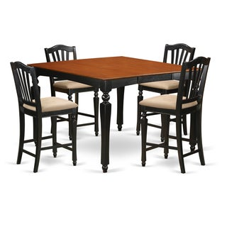 Black and Cherry Finish Natural Rubberwood 5-piece Dining Room Pub Set with Counter-height Square Gathering Table and 4 Chairs