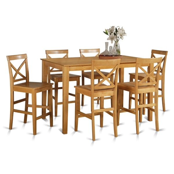 Oak finish rubberwood 7 piece dining room pub set with table and 6 oak finish rubberwood 7 piece dining room pub set with table and 6 chairs watchthetrailerfo