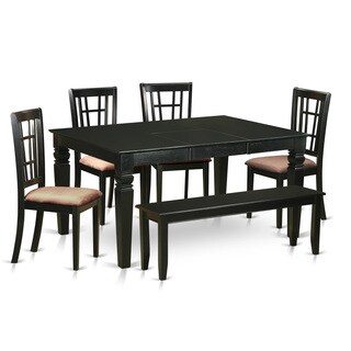 Rubberwood Black Kitchen Nook Dining Set 6-piece